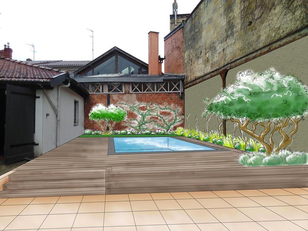 Aquitaine Piscines & Finitions - réalisation villa Bordeaux Boulevards croquis